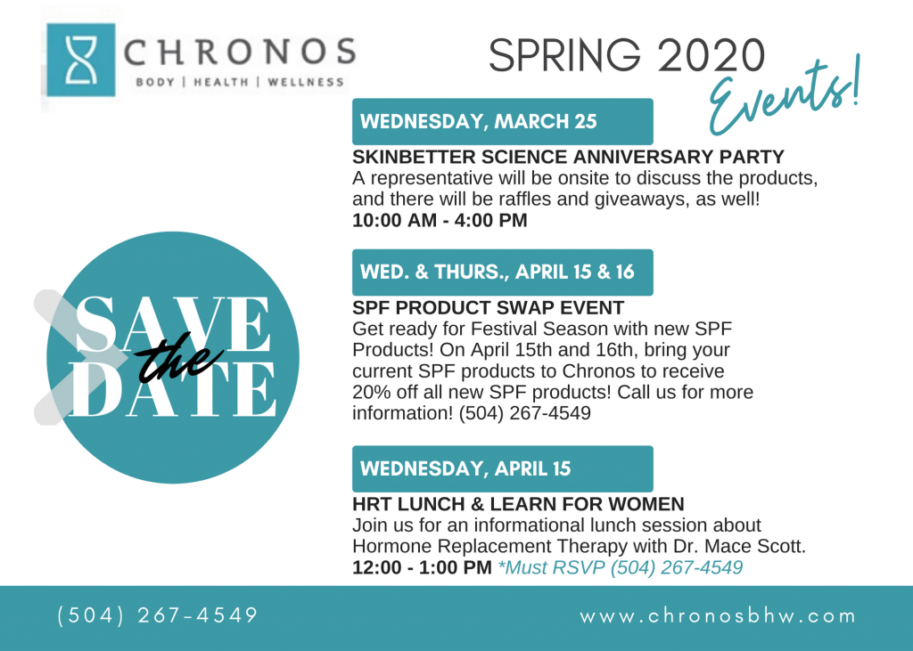Spring Events at Chronos